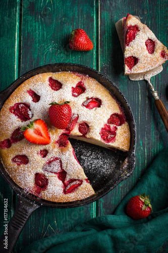 rstic summer strawberry  cake on cast iron pan Poster