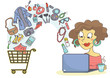Woman shopping online with laptop. Online buying devices, clothes, makeup and fashion accessories.