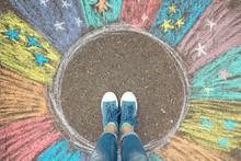 Comfort Zone Concept. Feet Standing Inside Comfort Zone Circle.