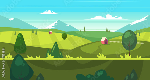Poster Turquoise Cartoon nature seamless landscape with houses
