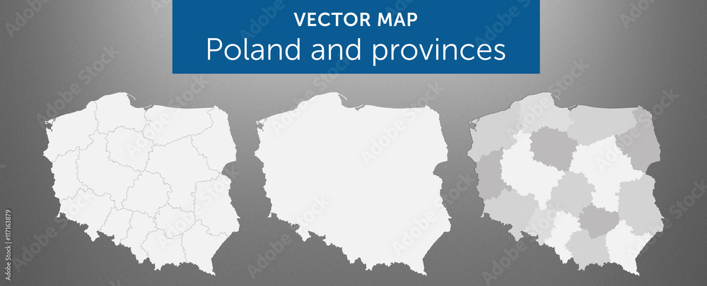 Fototapety, obrazy: Vector map of country Poland and voivodeships vol.1