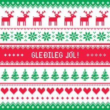 Gledileg Jol - Merry Christmas In Icelandic Pattern, Greetings Card