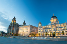 Liverpool City Centre - Three Graces, Buildings On Liverpool's Waterfront At Night, UK