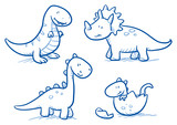 Fototapeta Dino - Cute little cartoon dinosaur babies for children, hand drawn vector doodle