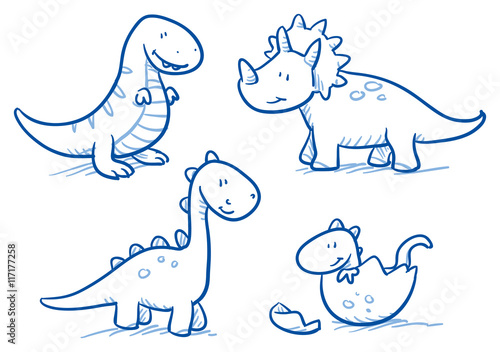 Photo  Cute little cartoon dinosaur babies for children, hand drawn vector doodle