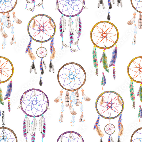 Cotton fabric Seamless pattern with dreamcatchers, hand drawn in watercolor on a white background
