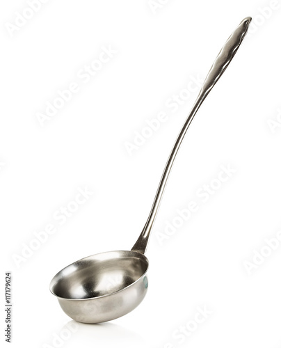 Soup ladle close-up isolated on white background. Canvas Print