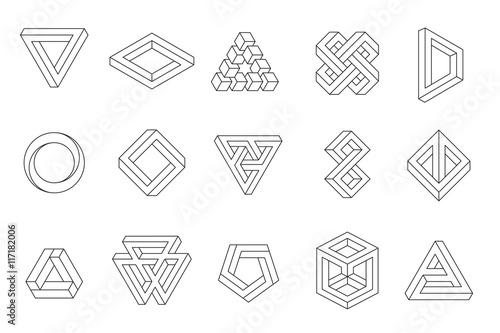 Fotografia Set of impossible shapes