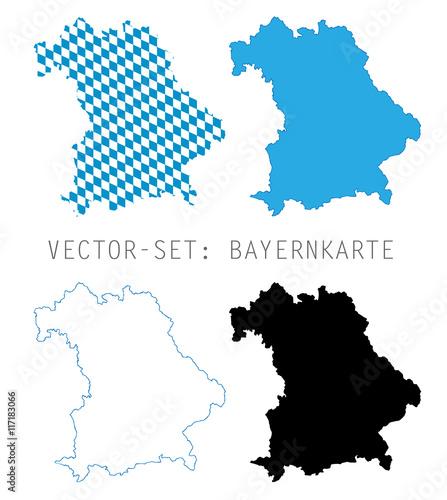 Bayern Karten Umriss - Vector Set Fototapet