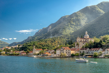landscape of the bay of Kotor in Montenegro