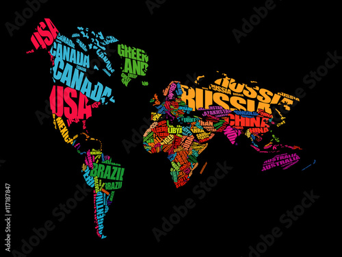 World map typography in perspective word cloud concept names of world map typography in perspective word cloud concept names of countries gumiabroncs Images