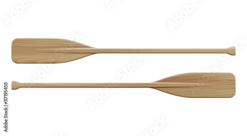 Canvas Print Two wooden paddles. Sport oars.