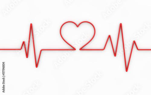 Valokuvatapetti Heart monitor. 3d illustration