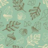 Autumn oak forest seamless botanical pattern. - 117202443