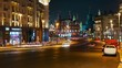 Moscow, night view from Tverskaya street toward Kremlin. Traffic. Timelapse.