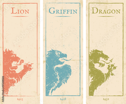 Fotografie, Tablou  lion, griffin and dragon