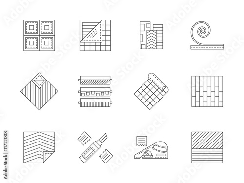 Fototapeta Set of building materials flat line vector icons obraz na płótnie
