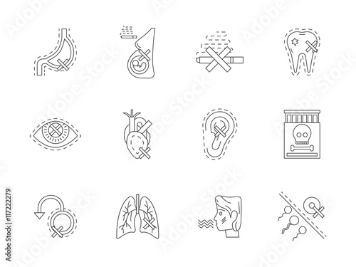 Photo Stands Owls cartoon Set of danger of smoking flat line vector icons