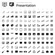 Line and Black Vector Icons - Presentation