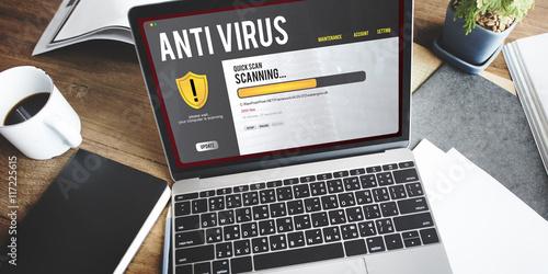 Fotografía  Antivirus Alert Firewall Hacker Protection Safety Concept