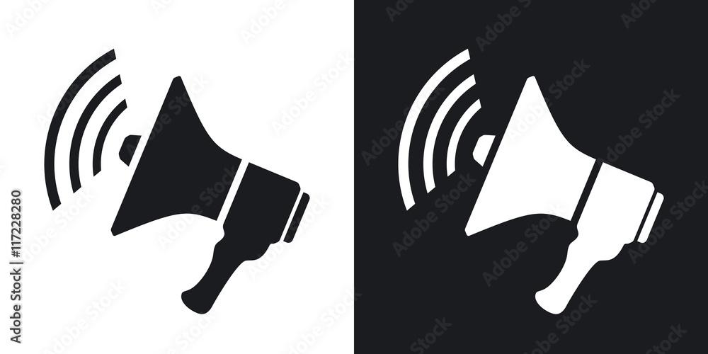 Fototapeta Vector loudspeaker icon. Two-tone version on black and white background