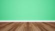 Leinwanddruck Bild - Wood floor with retro green wall