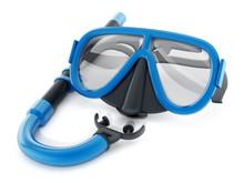 Snorkel And Diving Mask. 3D Illustration