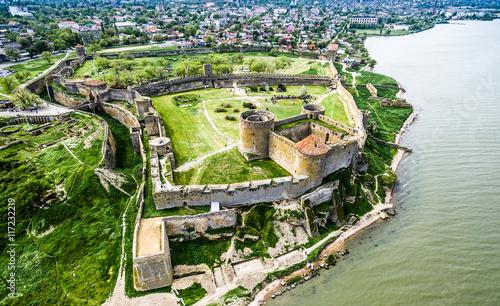 Photo Old fortress in Belgorod-Dniester, Ukraine, aerial photo
