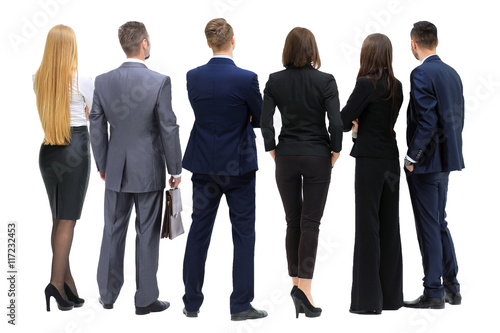 Valokuva  Business people from the back - looking at something over a whit