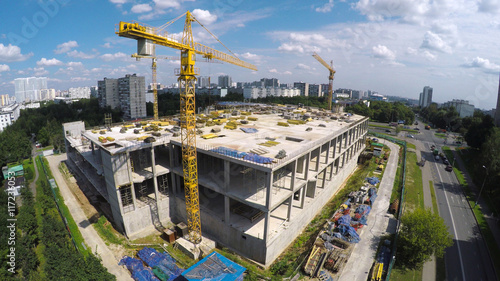 Obraz Construction site in the city aerial view - fototapety do salonu