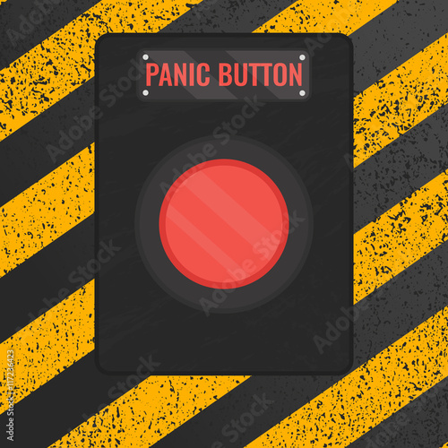 Panic Button Sign Vector Illustration Of A Red Emergency Stop