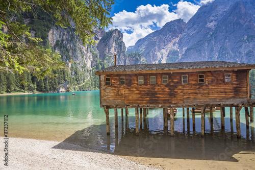 Plakat Południowy Tyrol, Pragser Wildsee z Seekofel