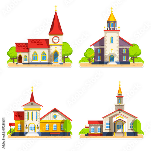 Leinwand Poster Church Flat Icons Set