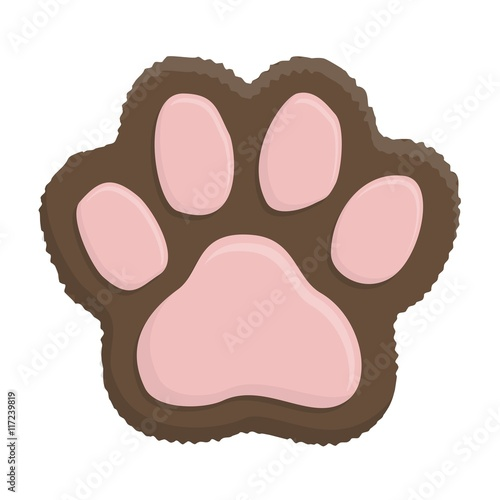 Brown kitten paw  Animal cat paw print in flat style