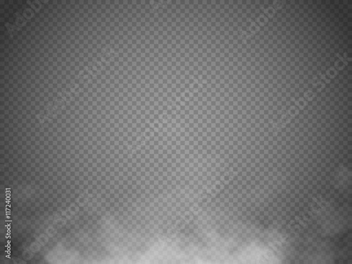 Fotobehang Rook Fog or smoke isolated transparent special effect. White vector cloudiness, mist or smog background. Vector illustration