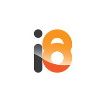 I8 Initial Grey And Orange With Shine
