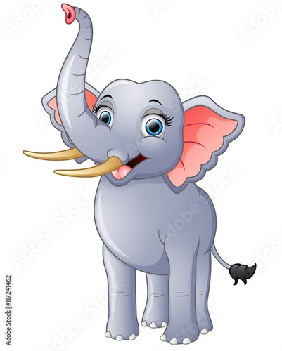 Autocollant pour porte Magie Happy elephant cartoon isolated on white background