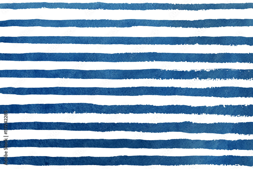 Fototapeta Watercolor dark blue stripe grunge pattern.