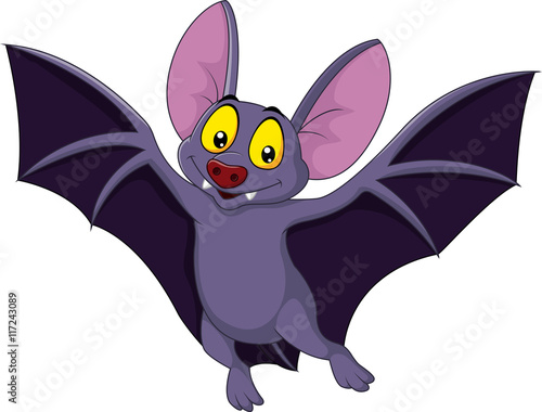 Fotografie, Obraz  Happy bat cartoon flying