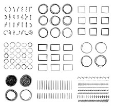 Big Set Of Hand-drawn Doodle Design Elements. Circles, Arrows, Lines, Squares For Your Pen Highlights