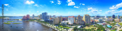 Fototapeta Aerial panoramic view of West Palm Beach, Florida. Sunset skylin obraz