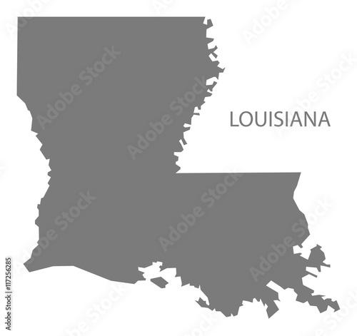 Louisiana USA Map grey Wallpaper Mural