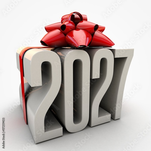 Fotografia  3D illustration of 2027 text wrapped up with red ribbon and bow