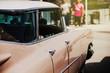 Detail of classic american car. Doors view.