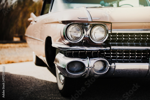 Keuken foto achterwand Vintage cars Detail of classic american car. Headlamp close up.