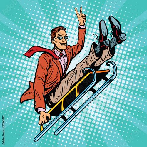 Retro man riding on a sled