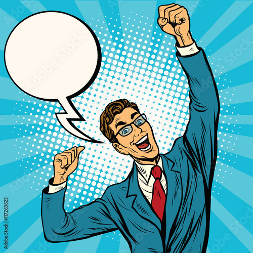Business man the winner comic bubble