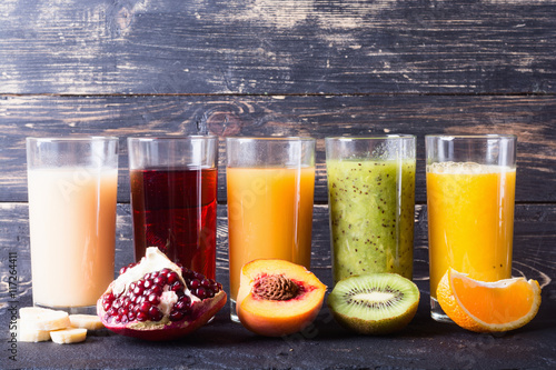 Foto auf Leinwand Saft Fruit juice collection
