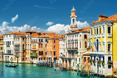 Photo  Colorful facades of medieval houses and the Grand Canal, Venice