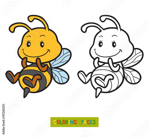 Coloring book, coloring page with a small bee – kaufen Sie ...